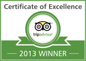 TripAdvisor Certificate of Excellence 2013 Winner